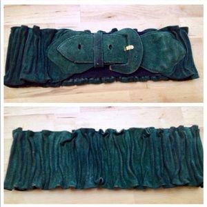 Vintage Suede Green Belt, Wide Green Elastic Belt